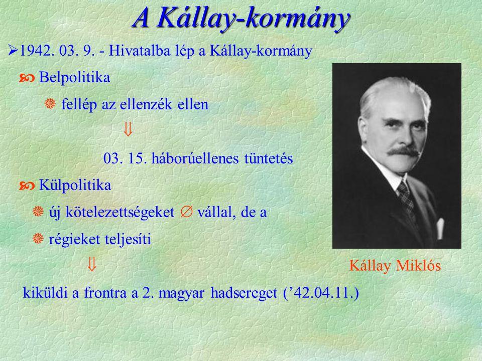 A Kállay-kormány  1942.03. 9.