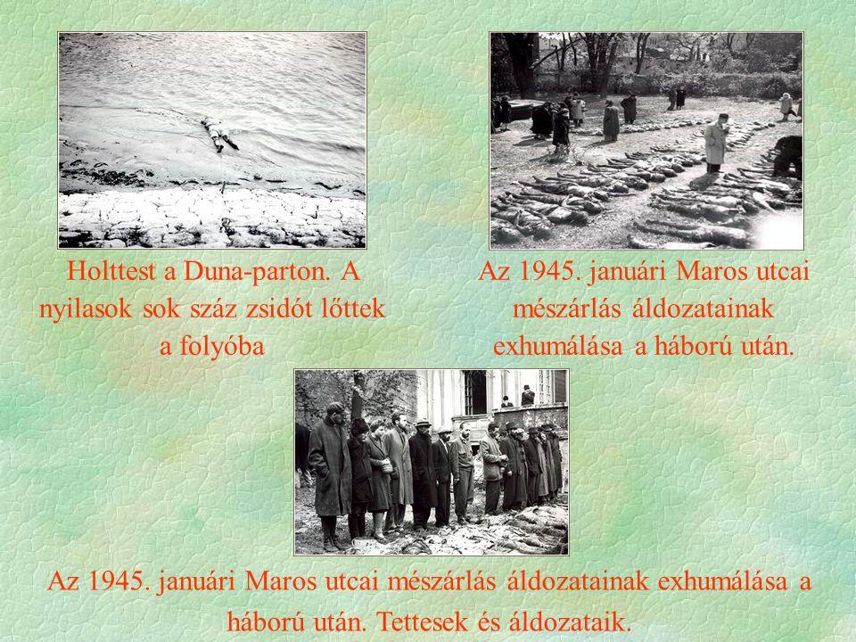 Az 1945.januári Maros utcai mészárlás áldozatainak exhumálása a háború után.