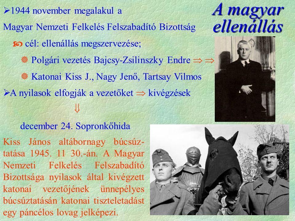  1944 november megalakul a Magyar Nemzeti Felkelés Felszabadító Bizottság  cél: ellenállás megszervezése;  Polgári vezetés Bajcsy-Zsilinszky Endre    Katonai Kiss J., Nagy Jenő, Tartsay Vilmos  A nyilasok elfogják a vezetőket  kivégzések  december 24.