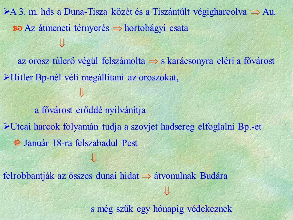  A 3. m. hds a Duna-Tisza közét és a Tiszántúlt végigharcolva  Au.