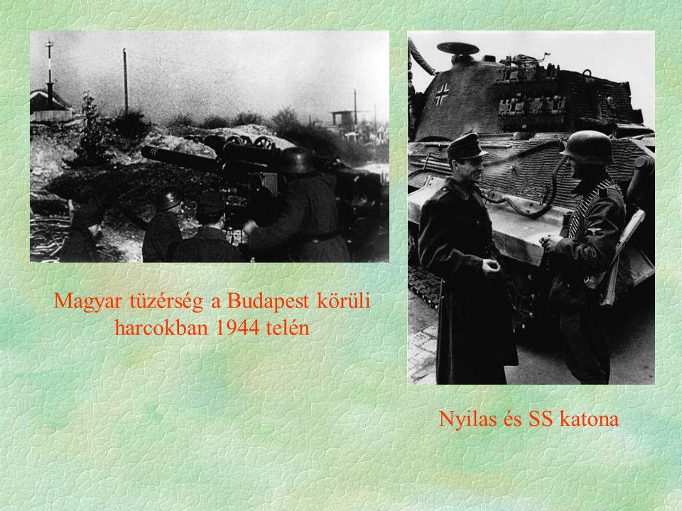 Magyar tüzérség a Budapest körüli harcokban 1944 telén Nyilas és SS katona