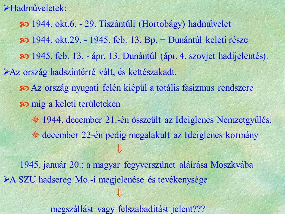  Hadműveletek:  1944. okt.6. - 29. Tiszántúli (Hortobágy) hadművelet  1944.