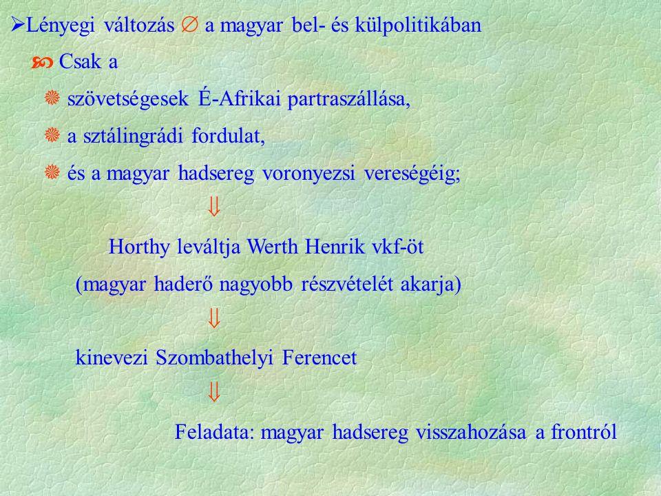  Lényegi változás  a magyar bel- és külpolitikában  Csak a  szövetségesek É-Afrikai partraszállása,  a sztálingrádi fordulat,  és a magyar hadsereg voronyezsi vereségéig;  Horthy leváltja Werth Henrik vkf-öt (magyar haderő nagyobb részvételét akarja)  kinevezi Szombathelyi Ferencet  Feladata: magyar hadsereg visszahozása a frontról