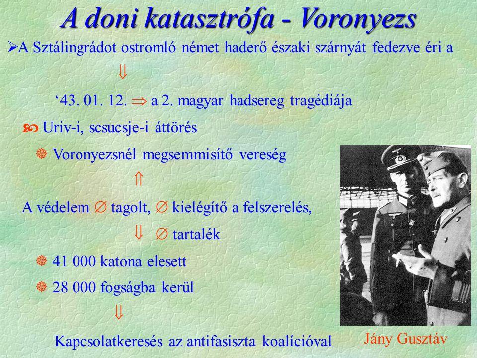 A doni katasztrófa - Voronyezs  A Sztálingrádot ostromló német haderő északi szárnyát fedezve éri a  '43.