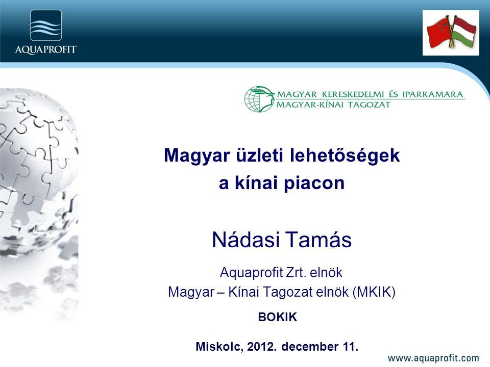 Magyar üzleti lehetőségek a kínai piacon Nádasi Tamás Aquaprofit Zrt.