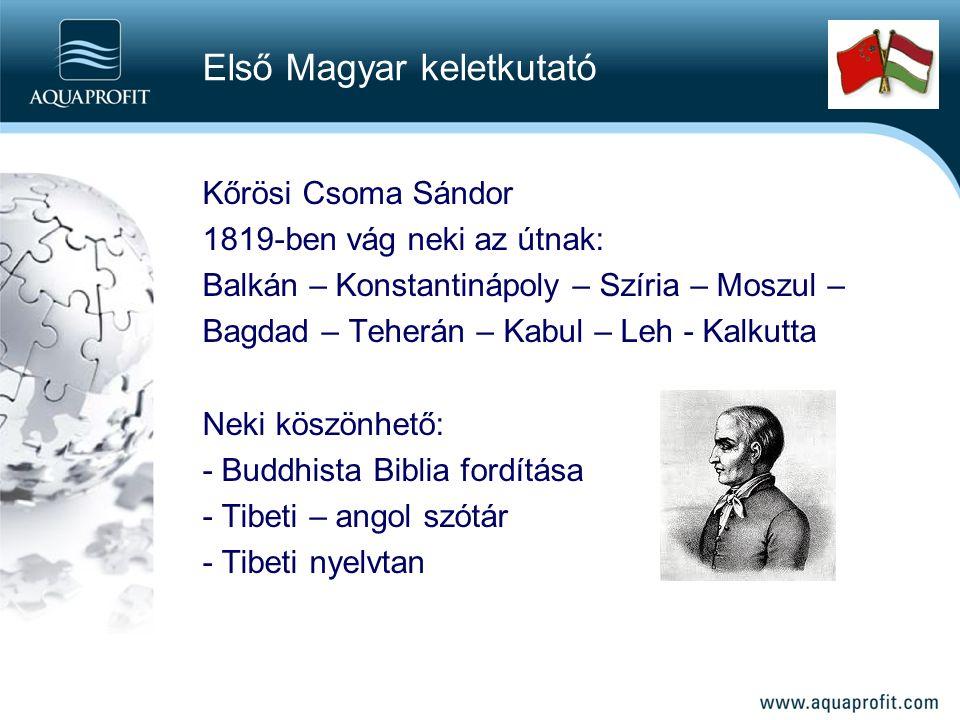 Kőrösi Csoma Sándor 1819-ben vág neki az útnak: Balkán – Konstantinápoly – Szíria – Moszul – Bagdad – Teherán – Kabul – Leh - Kalkutta Neki köszönhető: - Buddhista Biblia fordítása - Tibeti – angol szótár - Tibeti nyelvtan Első Magyar keletkutató