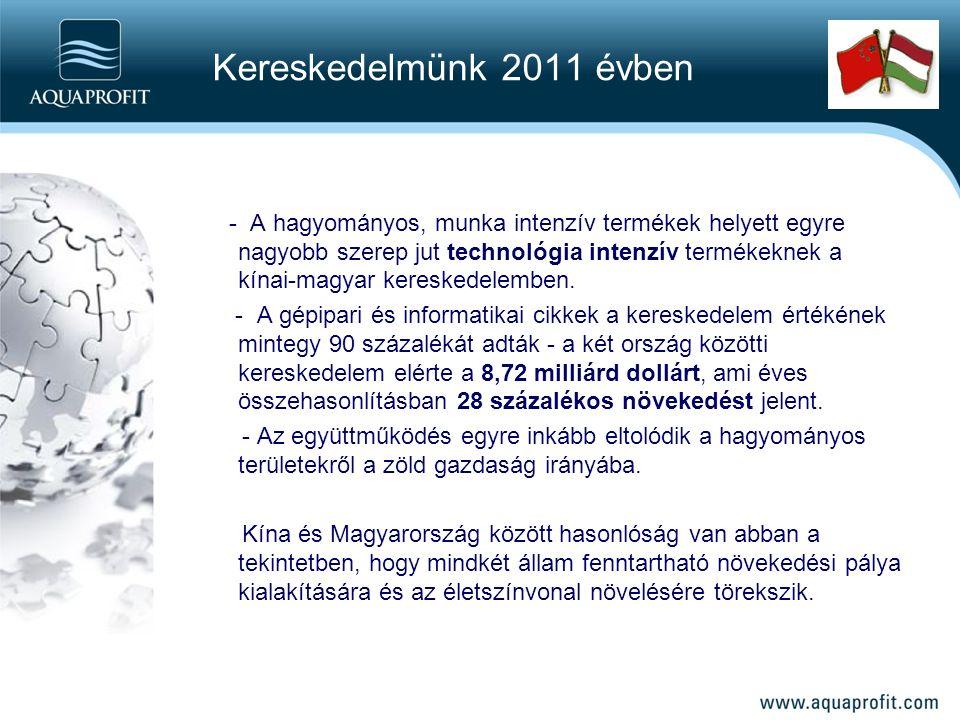 - A hagyományos, munka intenzív termékek helyett egyre nagyobb szerep jut technológia intenzív termékeknek a kínai-magyar kereskedelemben.