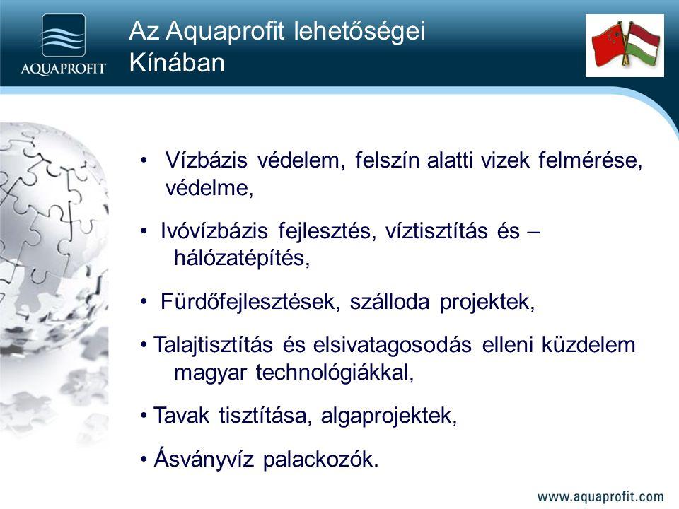 Vízbázis védelem, felszín alatti vizek felmérése, védelme, Ivóvízbázis fejlesztés, víztisztítás és – hálózatépítés, Fürdőfejlesztések, szálloda projektek, Talajtisztítás és elsivatagosodás elleni küzdelem magyar technológiákkal, Tavak tisztítása, algaprojektek, Ásványvíz palackozók.