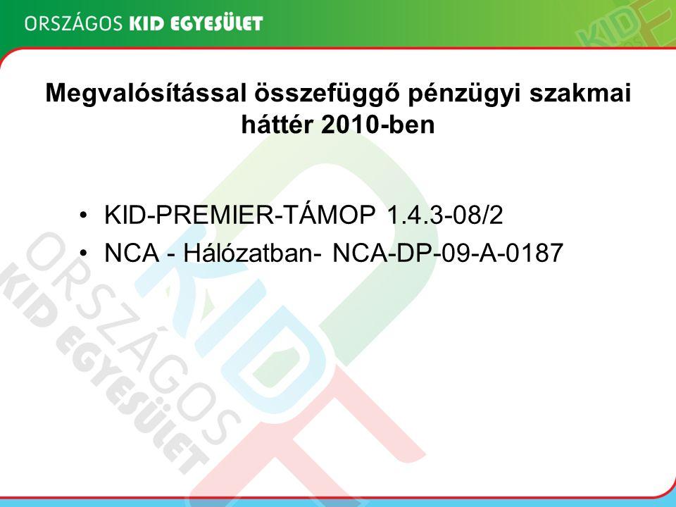 Megvalósítással összefüggő pénzügyi szakmai háttér 2010-ben KID-PREMIER-TÁMOP 1.4.3-08/2 NCA - Hálózatban- NCA-DP-09-A-0187