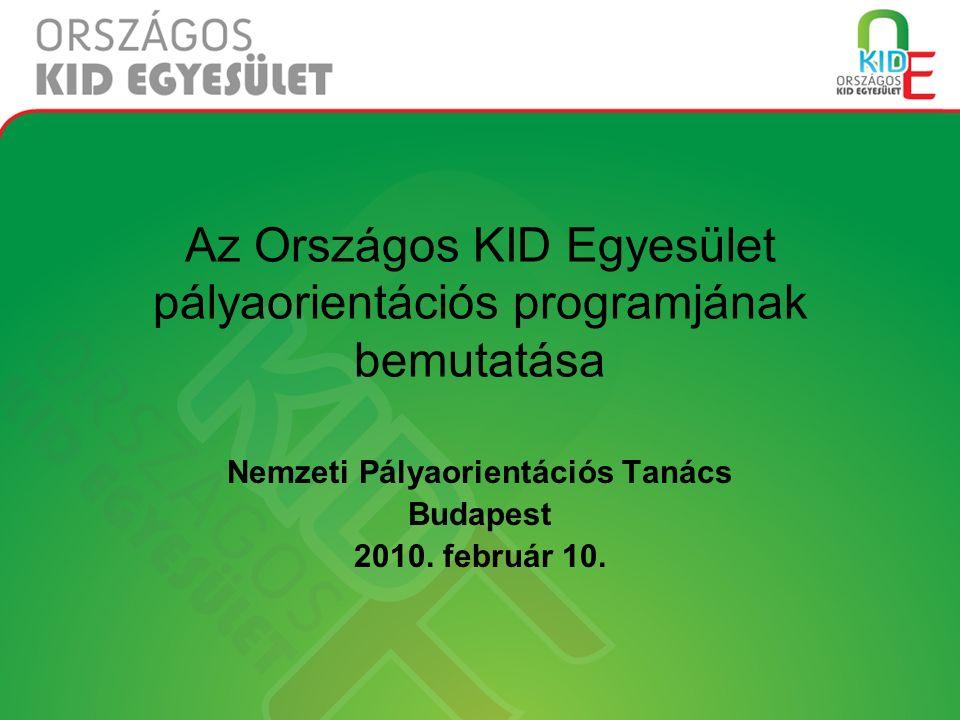 Az Országos KID Egyesület pályaorientációs programjának bemutatása Nemzeti Pályaorientációs Tanács Budapest 2010.