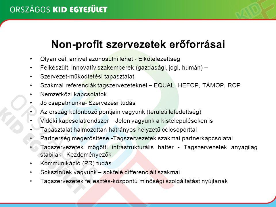 Non-profit szervezetek erőforrásai Olyan cél, amivel azonosulni lehet - Elkötelezettség Felkészült, innovatív szakemberek (gazdasági, jogi, humán) – Szervezet-működtetési tapasztalat Szakmai referenciák tagszervezeteknél – EQUAL, HEFOP, TÁMOP, ROP Nemzetközi kapcsolatok Jó csapatmunka- Szervezési tudás Az ország különböző pontjain vagyunk (területi lefedettség) Vidéki kapcsolatrendszer – Jelen vagyunk a kistelepüléseken is Tapasztalat halmozottan hátrányos helyzetű célcsoporttal Partnerség megerősítése -Tagszervezetek szakmai partnerkapcsolatai Tagszervezetek mögötti infrastrukturális háttér - Tagszervezetek anyagilag stabilak - Kezdeményezők Kommunikáció (PR) tudás Sokszínűek vagyunk – sokfelé differenciált szakmai Tagszervezetek fejlesztés-központú minőségi szolgáltatást nyújtanak