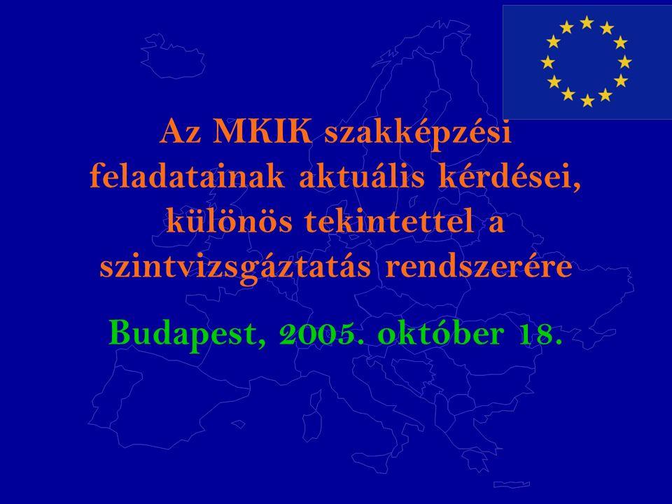 Az MKIK szakképzési feladatainak aktuális kérdései, különös tekintettel a szintvizsgáztatás rendszerére Budapest, 2005.