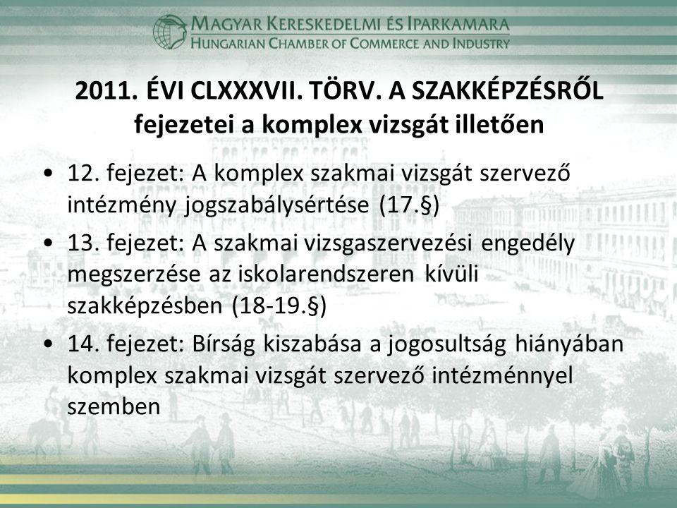 2011. ÉVI CLXXXVII. TÖRV. A SZAKKÉPZÉSRŐL fejezetei a komplex vizsgát illetően 12. fejezet: A komplex szakmai vizsgát szervező intézmény jogszabálysér