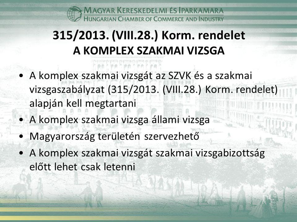 315/2013. (VIII.28.) Korm. rendelet A KOMPLEX SZAKMAI VIZSGA A komplex szakmai vizsgát az SZVK és a szakmai vizsgaszabályzat (315/2013. (VIII.28.) Kor