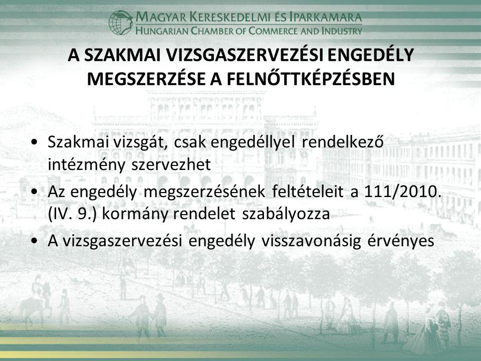 A SZAKMAI VIZSGASZERVEZÉSI ENGEDÉLY MEGSZERZÉSE A FELNŐTTKÉPZÉSBEN Szakmai vizsgát, csak engedéllyel rendelkező intézmény szervezhet Az engedély megszerzésének feltételeit a 111/2010.