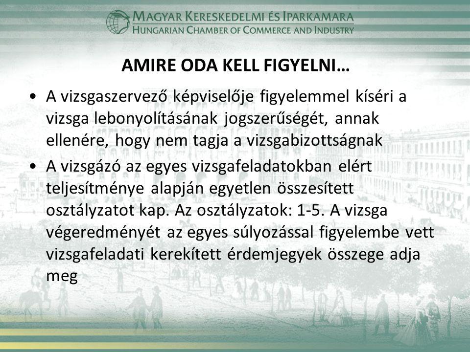 AMIRE ODA KELL FIGYELNI… A vizsgaszervező képviselője figyelemmel kíséri a vizsga lebonyolításának jogszerűségét, annak ellenére, hogy nem tagja a viz