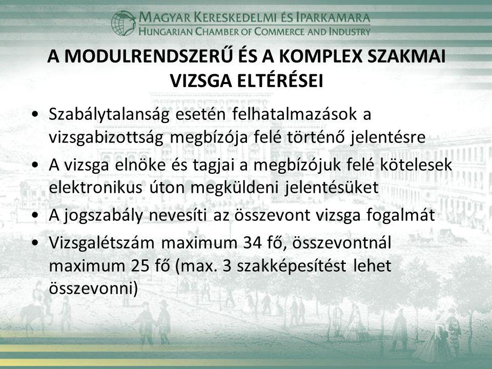 A MODULRENDSZERŰ ÉS A KOMPLEX SZAKMAI VIZSGA ELTÉRÉSEI Szabálytalanság esetén felhatalmazások a vizsgabizottság megbízója felé történő jelentésre A vizsga elnöke és tagjai a megbízójuk felé kötelesek elektronikus úton megküldeni jelentésüket A jogszabály nevesíti az összevont vizsga fogalmát Vizsgalétszám maximum 34 fő, összevontnál maximum 25 fő (max.