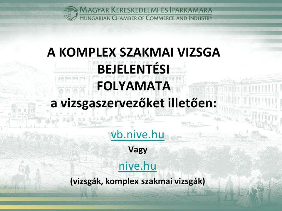A KOMPLEX SZAKMAI VIZSGA BEJELENTÉSI FOLYAMATA a vizsgaszervezőket illetően: vb.nive.hu Vagy nive.hu (vizsgák, komplex szakmai vizsgák)
