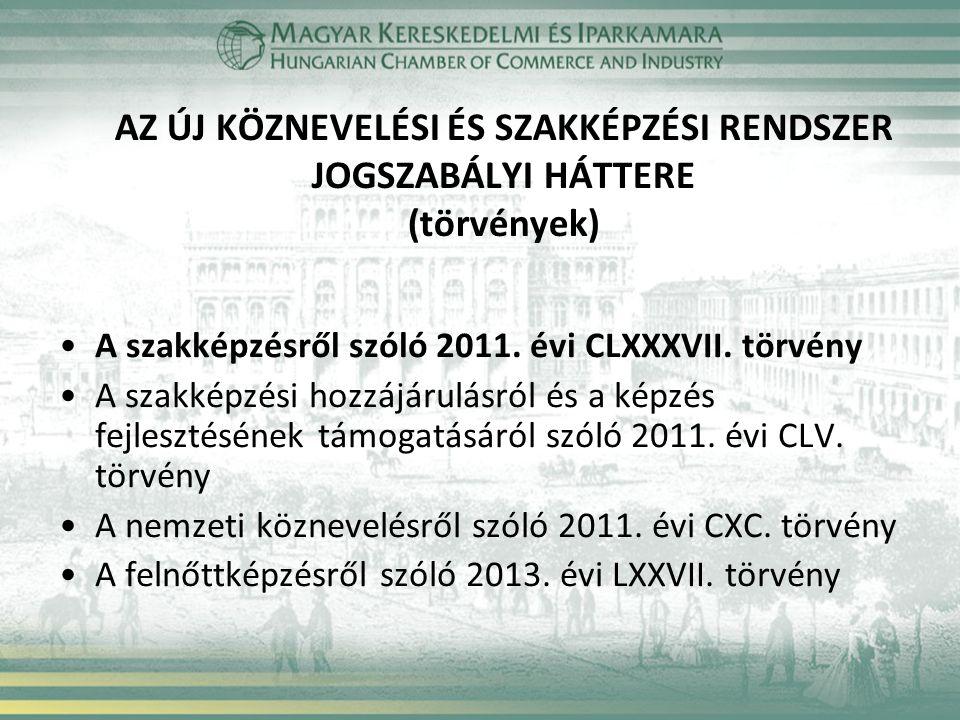 AZ ÚJ KÖZNEVELÉSI ÉS SZAKKÉPZÉSI RENDSZER JOGSZABÁLYI HÁTTERE (törvények) A szakképzésről szóló 2011. évi CLXXXVII. törvény A szakképzési hozzájárulás