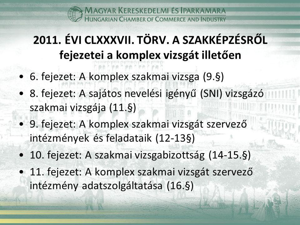 2011. ÉVI CLXXXVII. TÖRV. A SZAKKÉPZÉSRŐL fejezetei a komplex vizsgát illetően 6. fejezet: A komplex szakmai vizsga (9.§) 8. fejezet: A sajátos nevelé