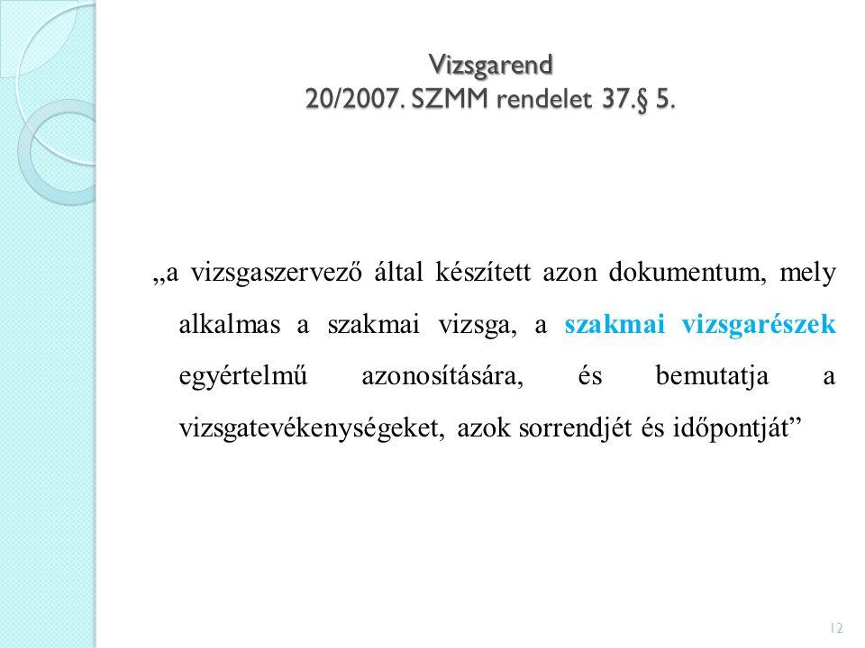 Vizsgarend 20/2007. SZMM rendelet 37.§ 5.