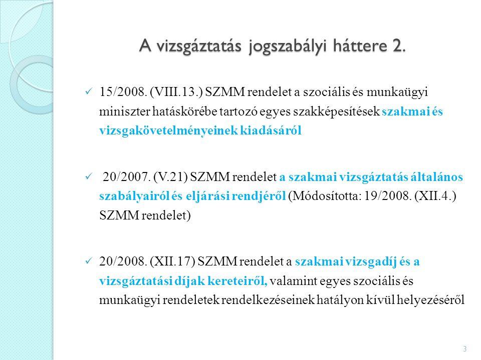 A vizsgáztatás jogszabályi háttere 2. 15/2008.