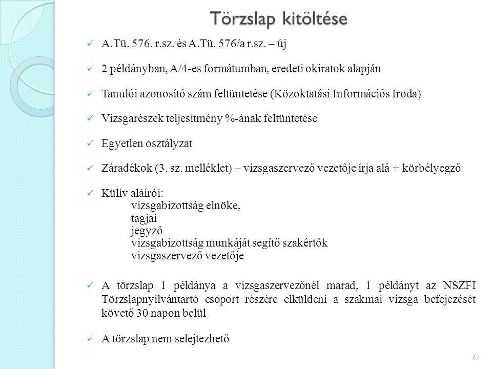 Törzslap kitöltése A.Tü. 576. r.sz. és A.Tü. 576/a r.sz.