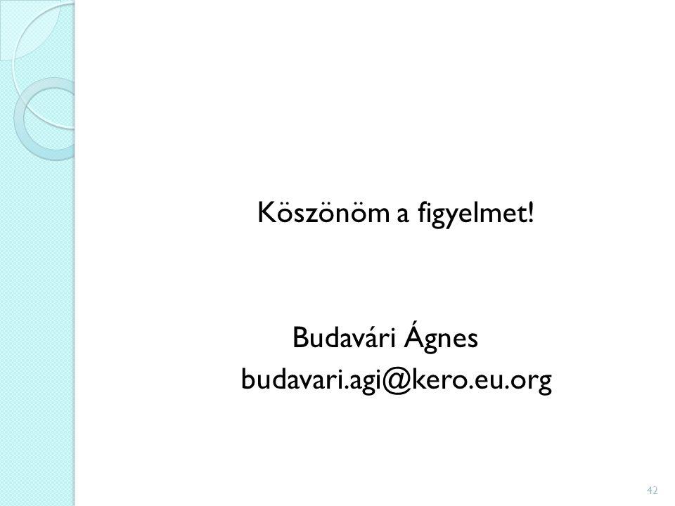 Köszönöm a figyelmet! Budavári Ágnes budavari.agi@kero.eu.org 42