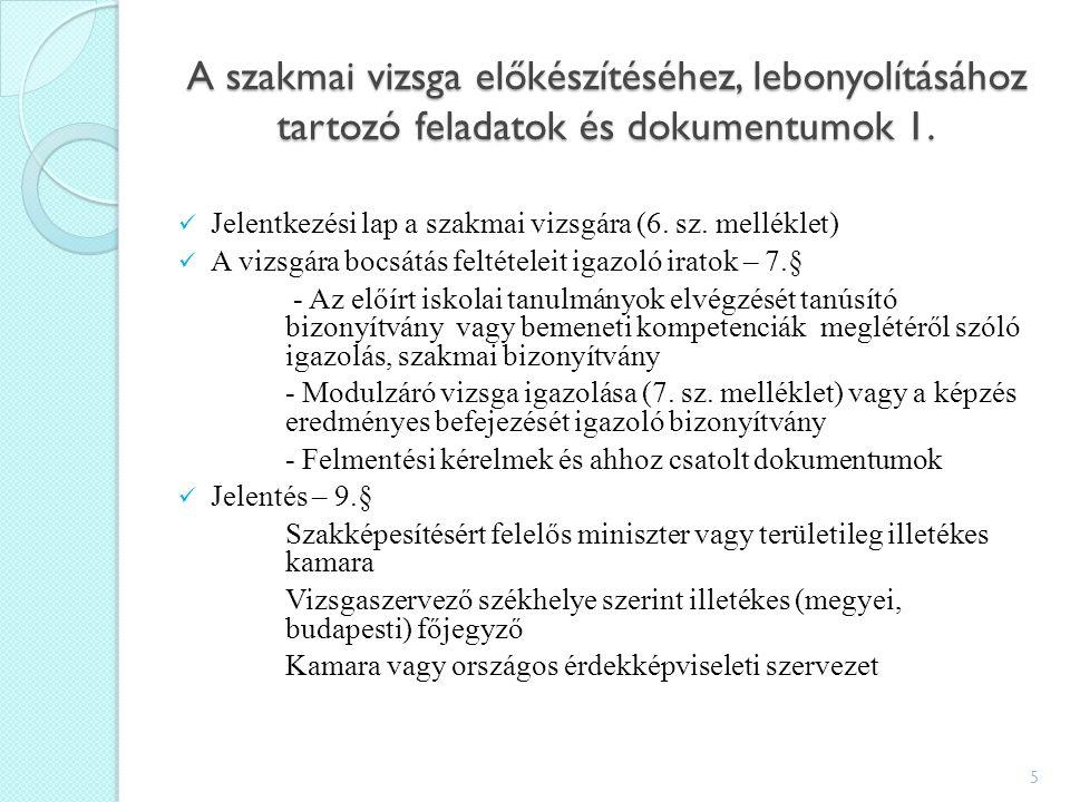 A szakmai vizsga előkészítéséhez, lebonyolításához tartozó feladatok és dokumentumok 1.