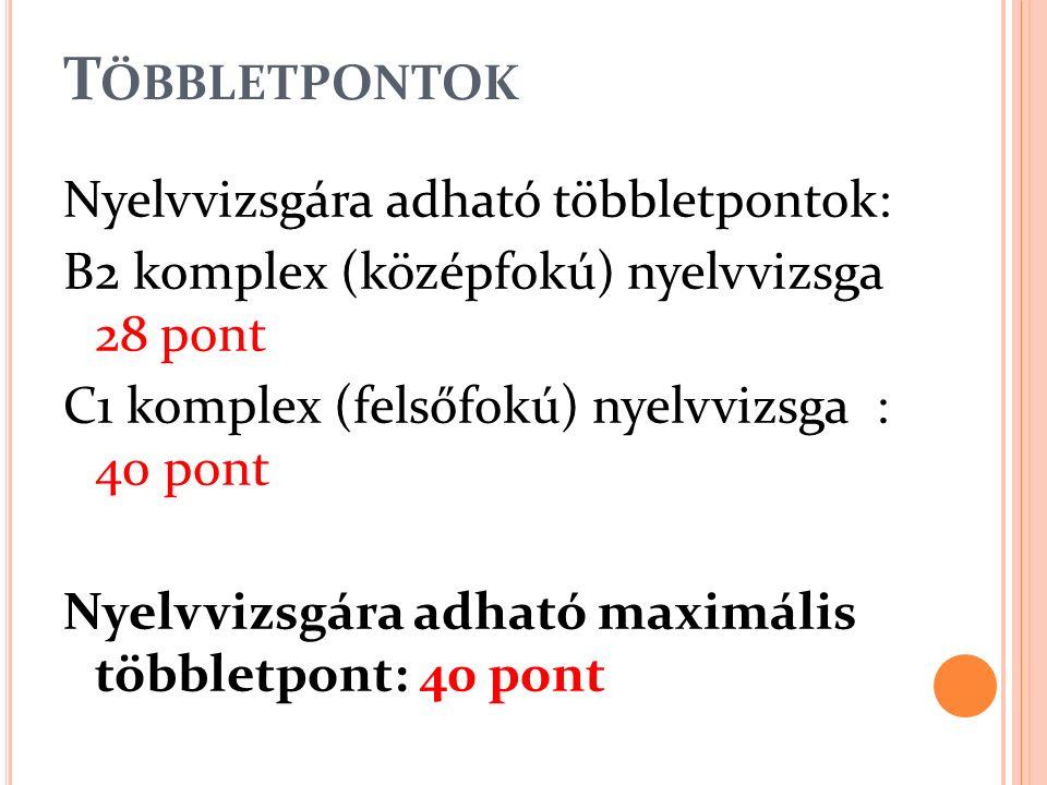 T ÖBBLETPONTOK Nyelvvizsgára adható többletpontok: B2 komplex (középfokú) nyelvvizsga 28 pont C1 komplex (felsőfokú) nyelvvizsga : 40 pont Nyelvvizsgá