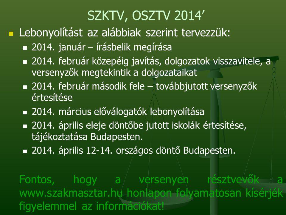 SZKTV, OSZTV 2014' Lebonyolítást az alábbiak szerint tervezzük: 2014.