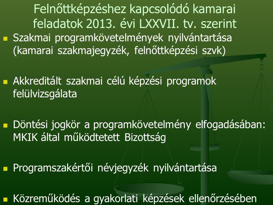 Felnőttképzéshez kapcsolódó kamarai feladatok 2013.