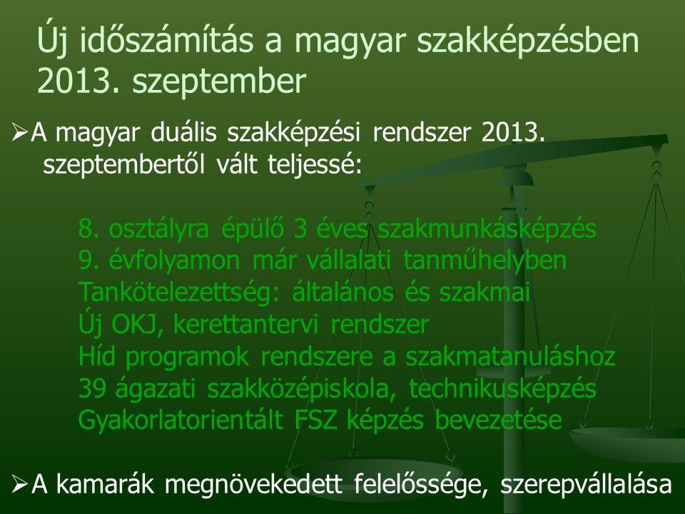 Új időszámítás a magyar szakképzésben 2013. szeptember  A magyar duális szakképzési rendszer 2013.