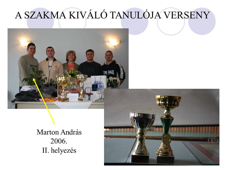 A SZAKMA KIVÁLÓ TANULÓJA VERSENY Marton András 2006. II. helyezés
