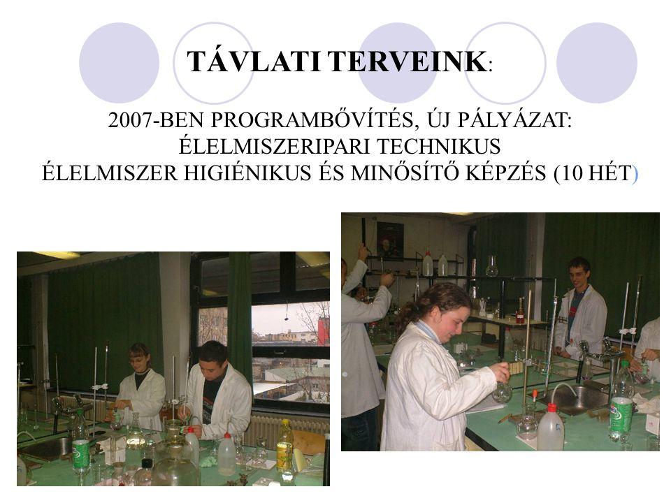 TÁVLATI TERVEINK : 2007-BEN PROGRAMBŐVÍTÉS, ÚJ PÁLYÁZAT: ÉLELMISZERIPARI TECHNIKUS ÉLELMISZER HIGIÉNIKUS ÉS MINŐSÍTŐ KÉPZÉS (10 HÉT)