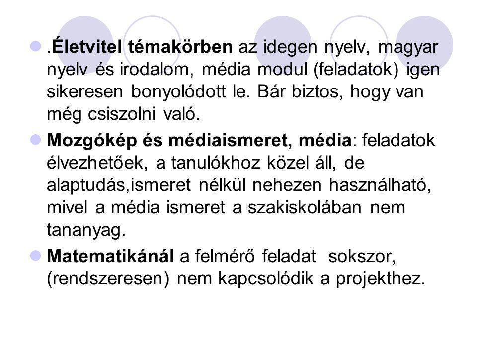 .Életvitel témakörben az idegen nyelv, magyar nyelv és irodalom, média modul (feladatok) igen sikeresen bonyolódott le.