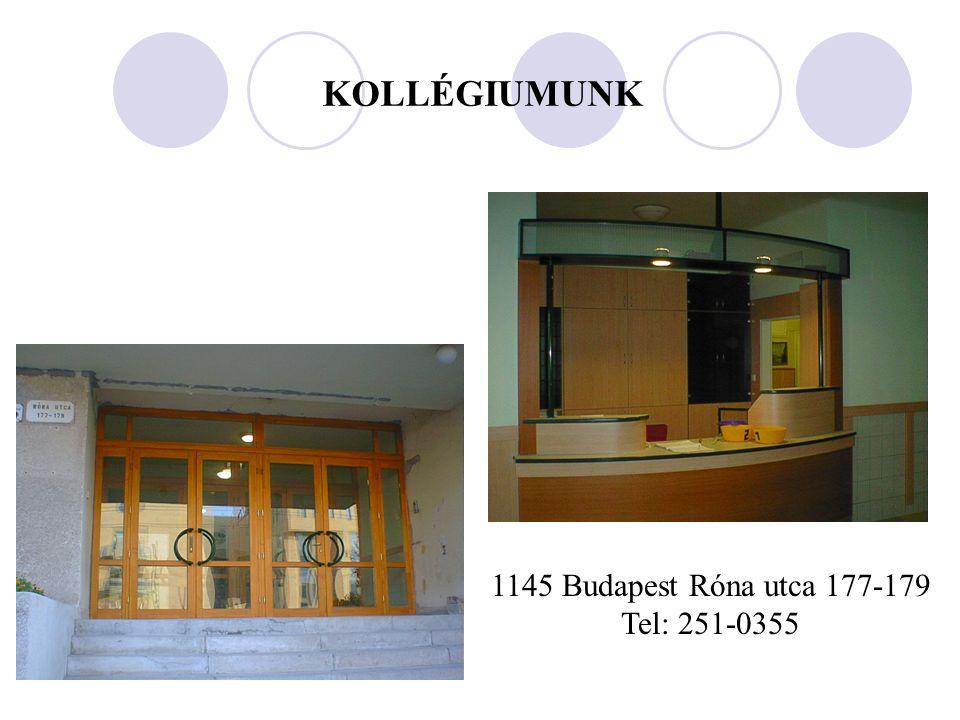 KOLLÉGIUMUNK 1145 Budapest Róna utca 177-179 Tel: 251-0355