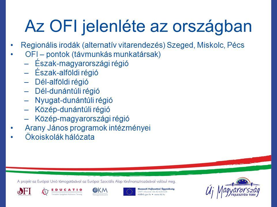 Az OFI jelenléte az országban Regionális irodák (alternatív vitarendezés) Szeged, Miskolc, Pécs OFI – pontok (távmunkás munkatársak) – Észak-magyarországi régió – Észak-alföldi régió – Dél-alföldi régió – Dél-dunántúli régió – Nyugat-dunántúli régió – Közép-dunántúli régió – Közép-magyarországi régió Arany János programok intézményei Ökoiskolák hálózata