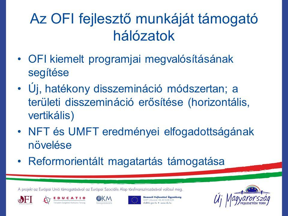 Az OFI fejlesztő munkáját támogató hálózatok OFI kiemelt programjai megvalósításának segítése Új, hatékony disszemináció módszertan; a területi disszemináció erősítése (horizontális, vertikális) NFT és UMFT eredményei elfogadottságának növelése Reformorientált magatartás támogatása