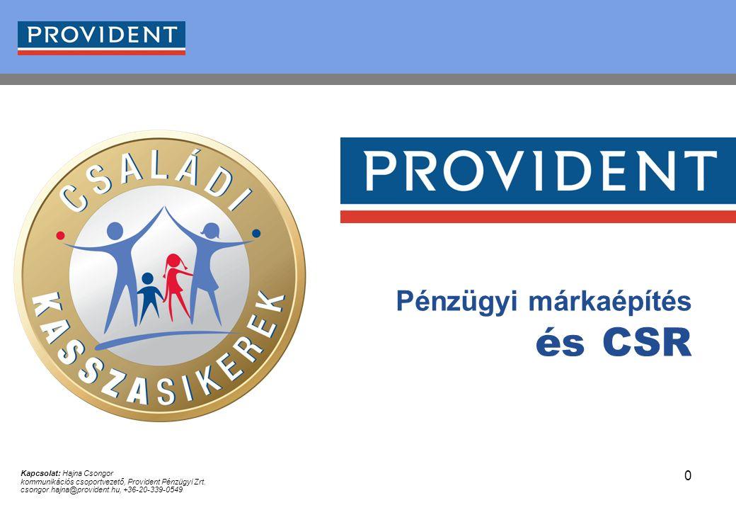 0 Pénzügyi márkaépítés és CSR Kapcsolat: Hajna Csongor kommunikációs csoportvezető, Provident Pénzügyi Zrt. csongor.hajna@provident.hu, +36-20-339-054