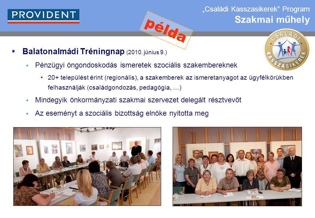 22  Balatonalmádi Tréningnap (2010. június 9.)  Pénzügyi öngondoskodás ismeretek szociális szakembereknek 20+ települést érint (regionális), a szake