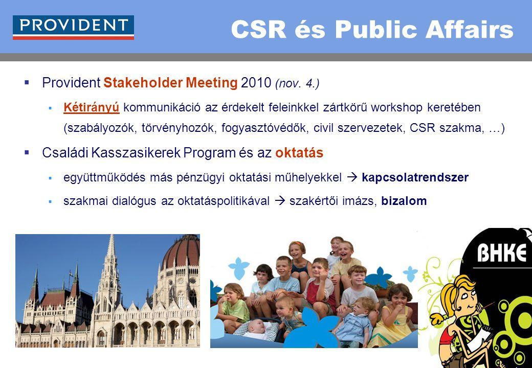 28 CSR és Public Affairs  Provident Stakeholder Meeting 2010 (nov. 4.)  Kétirányú kommunikáció az érdekelt feleinkkel zártkörű workshop keretében (s