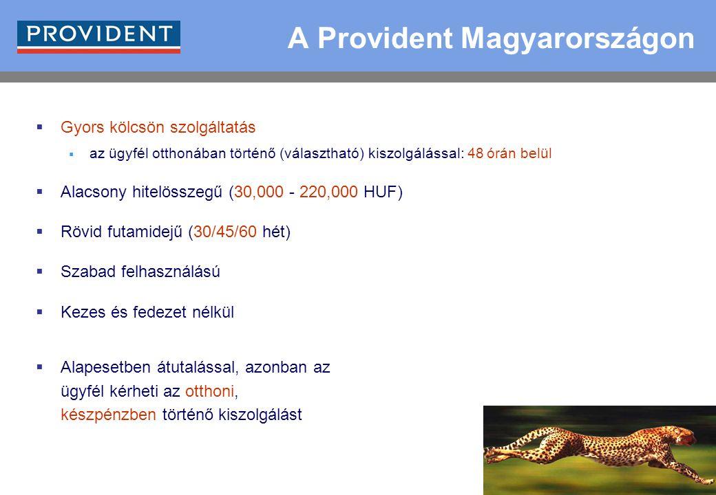 5  Gyors kölcsön szolgáltatás  az ügyfél otthonában történő (választható) kiszolgálással: 48 órán belül  Alacsony hitelösszegű (30,000 - 220,000 HUF)  Rövid futamidejű (30/45/60 hét)  Szabad felhasználású  Kezes és fedezet nélkül  Alapesetben átutalással, azonban az ügyfél kérheti az otthoni, készpénzben történő kiszolgálást A Provident Magyarországon