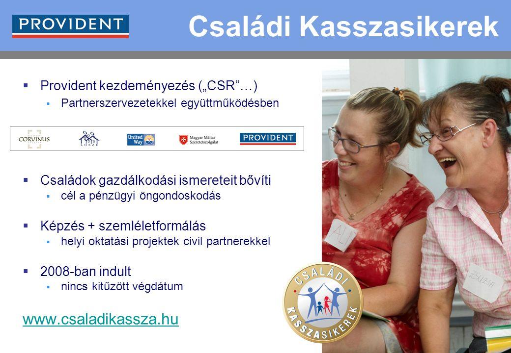 """7  Provident kezdeményezés (""""CSR …)  Partnerszervezetekkel együttműködésben  Családok gazdálkodási ismereteit bővíti  cél a pénzügyi öngondoskodás  Képzés + szemléletformálás  helyi oktatási projektek civil partnerekkel  2008-ban indult  nincs kitűzött végdátum www.csaladikassza.hu Családi Kasszasikerek"""