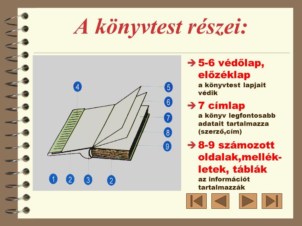 è 5-6 védőlap, előzéklap a könyvtest lapjait védik è 7 címlap a könyv legfontosabb adatait tartalmazza (szerző,cím) è 8-9 számozott oldalak,mellék- le