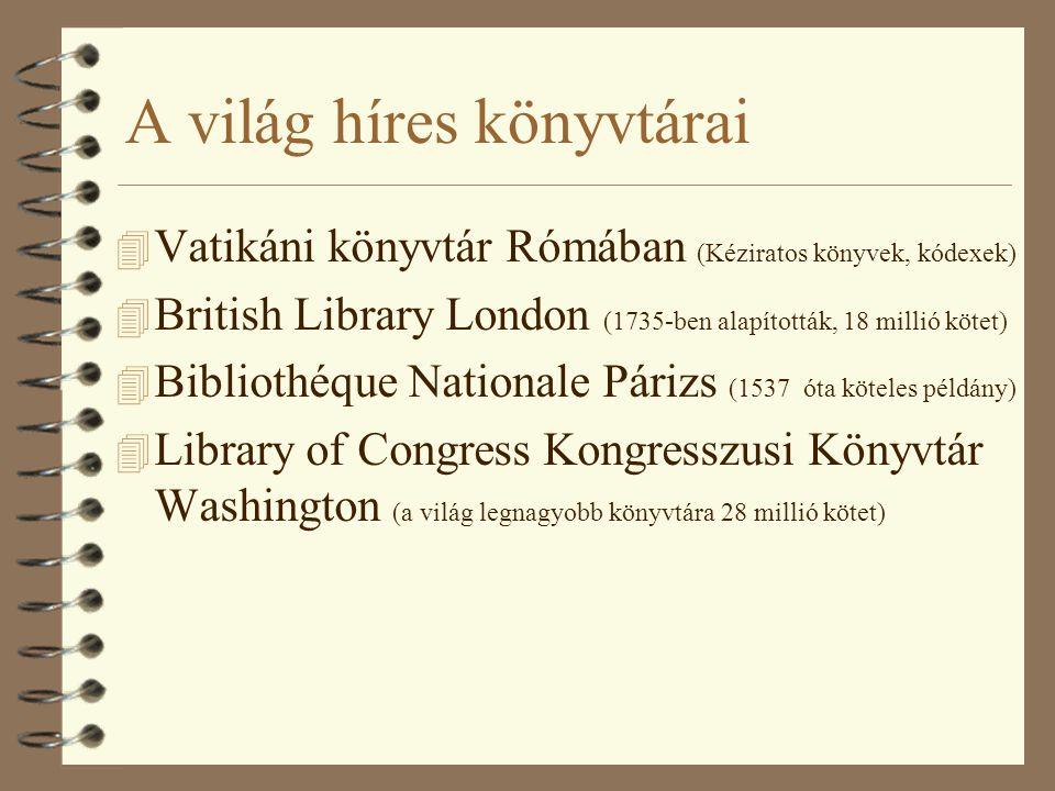 A világ híres könyvtárai 4 Vatikáni könyvtár Rómában (Kéziratos könyvek, kódexek) 4 British Library London (1735-ben alapították, 18 millió kötet) 4 Bibliothéque Nationale Párizs (1537 óta köteles példány) 4 Library of Congress Kongresszusi Könyvtár Washington (a világ legnagyobb könyvtára 28 millió kötet)