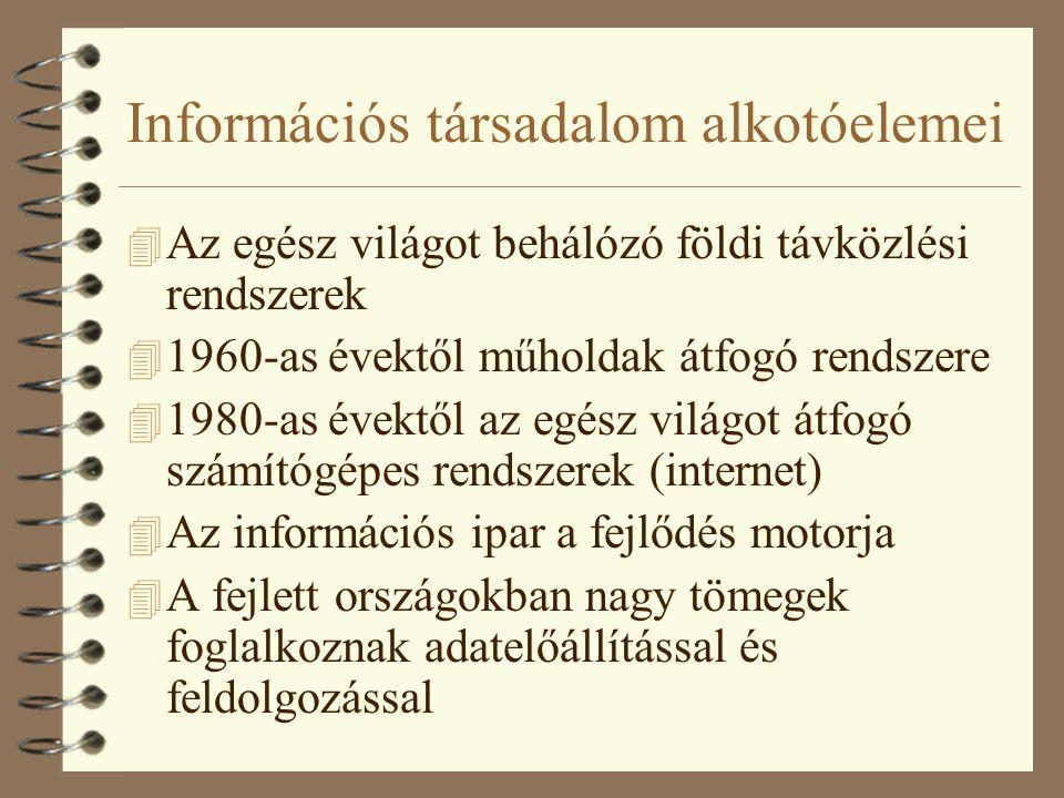 Információs társadalom alkotóelemei 4 Az egész világot behálózó földi távközlési rendszerek 4 1960-as évektől műholdak átfogó rendszere 4 1980-as évektől az egész világot átfogó számítógépes rendszerek (internet) 4 Az információs ipar a fejlődés motorja 4 A fejlett országokban nagy tömegek foglalkoznak adatelőállítással és feldolgozással