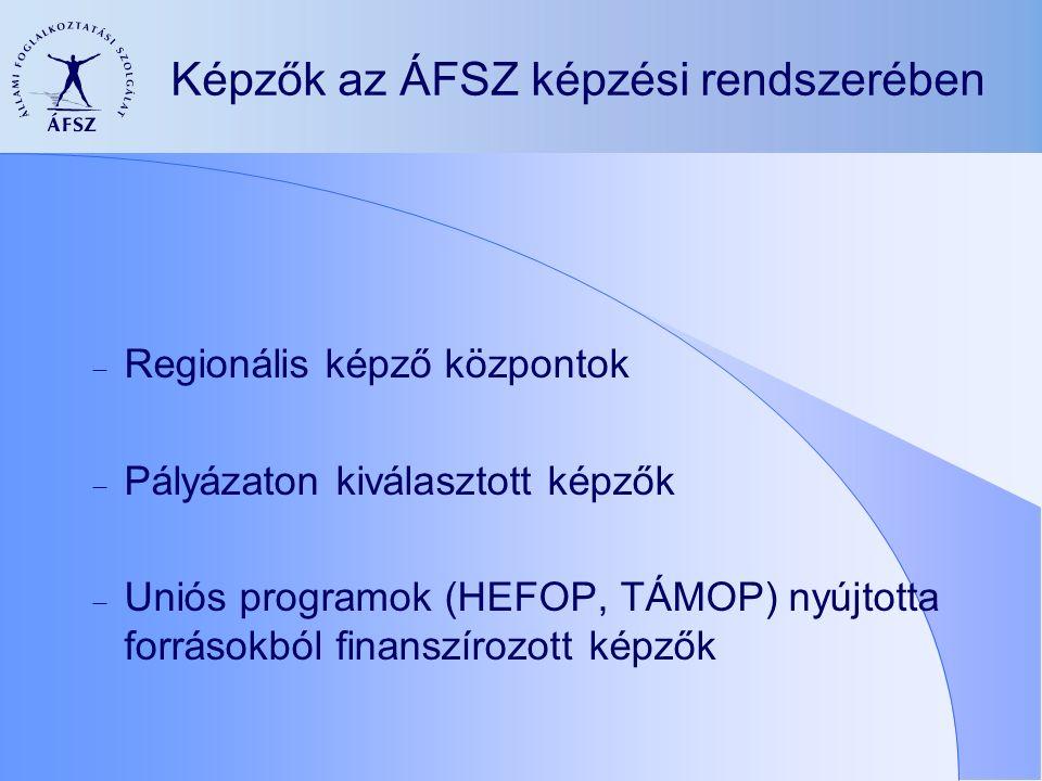 Képzők az ÁFSZ képzési rendszerében  Regionális képző központok  Pályázaton kiválasztott képzők  Uniós programok (HEFOP, TÁMOP) nyújtotta forrásokból finanszírozott képzők