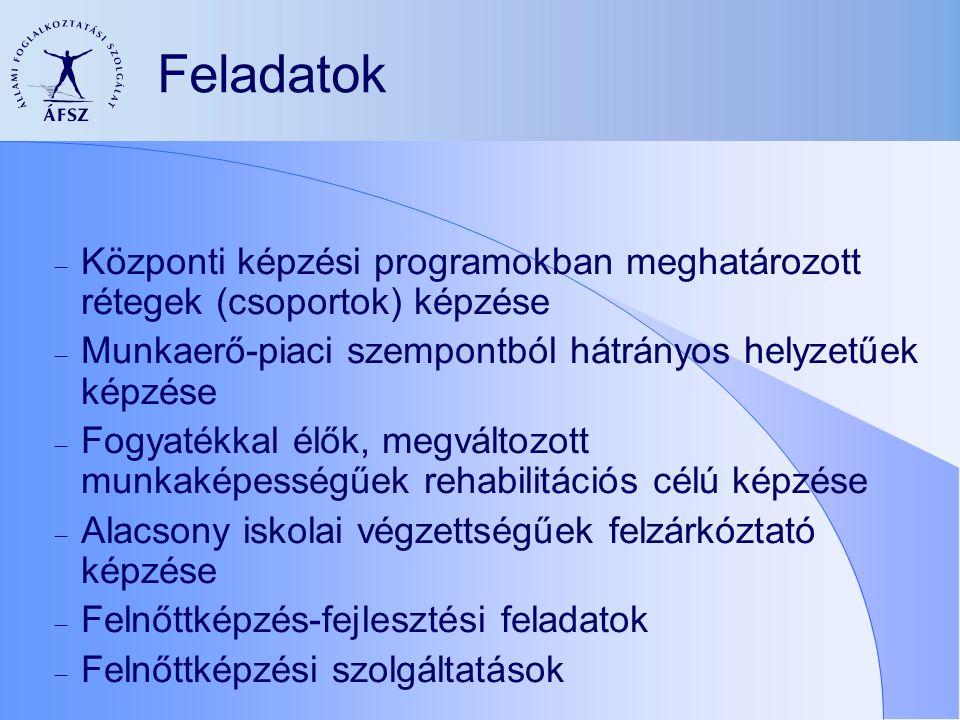 Feladatok  Központi képzési programokban meghatározott rétegek (csoportok) képzése  Munkaerő-piaci szempontból hátrányos helyzetűek képzése  Fogyatékkal élők, megváltozott munkaképességűek rehabilitációs célú képzése  Alacsony iskolai végzettségűek felzárkóztató képzése  Felnőttképzés-fejlesztési feladatok  Felnőttképzési szolgáltatások