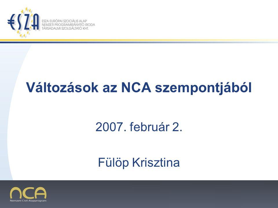 Változások az NCA szempontjából 2007. február 2. Fülöp Krisztina